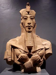 """Akhenaton - meaning """"living spirit of Aten"""" known before the fifth year of his reign as Amenhotep IV was a Pharaoh (King) of the Eighteenth dynasty of Egypt who ruled for 17 years. His queen was Nefertiti. Akhenaton died perhaps in 1336 BC or 1334 BC."""