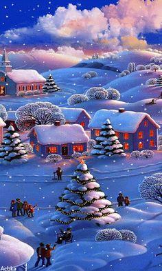 Merry Christmas Gif, Christmas Scenes, Christmas Past, Vintage Christmas Cards, Blue Christmas, Christmas Pictures, Beautiful Christmas, Winter Christmas, Christmas Lights