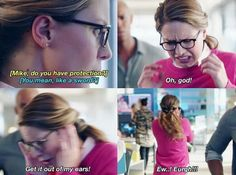 Supergirl 2x05 Kara catches Mon-El and eve