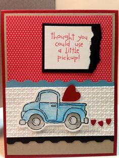 Loads of Love Handmade Blue Pickup Card for Birthday, Friendship, Get Well or Thinking of You Boy Cards, Cute Cards, Men's Cards, Scrapbook Cards, Scrapbooking, Get Well Cards, Sympathy Cards, Masculine Cards, Valentine Day Cards