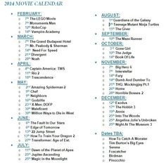 2014 Movie Calendar.