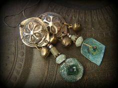 Roman Glass, Banjara, Rustic,Tribal, Boho Beaded Earrings by YuccaBloom on Etsy