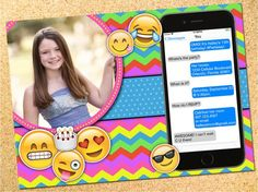 Personalized emoji birthday party invitation for teen or tween.