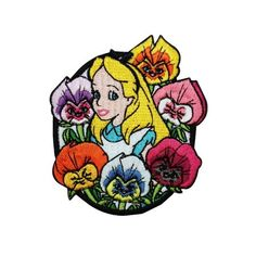 Alice in Wonderland Flowers Iron-On Patch Disney Cartoon Embroidered Applique