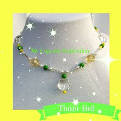 Disney Jewelry Tinkerbell Party Tinkerbell Costume Necklace. Yellow wedding Flower Girl Daisy Inspired necklace. by MyCupcakeInspiration