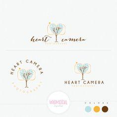 Heart Camera Logo Love Wedding photography by WhimsicalLogoShop