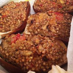 Barchette di #melanzane ripiene di #grano saraceno, #pomodori, semi di #chia, #curcuma e tanto altro ☺️ presto la #ricetta sul nostro sito!!!  http://www.ricettelastminute.com  #ricette #love #food #instafood #instagood #instagram #photooftheday #pictureoftheday #sicily #sicilia #italy #italia #me