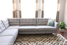 Add tufting to ikea couch cushions so make it look more expensive. Could also change legs. 37 Cheap And Easy Ways To Make Your Ikea Stuff Look Expensive Cushions Ikea, Ikea Couch, Diy Couch, Couch Pillows, Ikea Chair, Ikea Furniture Makeover, Diy Furniture, Ikea Makeover, Painted Furniture