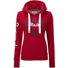 Superdry Dept hoodie ($64) ❤ liked on Polyvore featuring tops, hoodies, shirts, jackets, red, women, red top, one shoulder shirt, one shoulder tops and sweatshirt hoodies