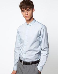 ASOS DESIGN smart shirt with curve collar at ASOS. Latest Fashion Clothes, Fashion Online, Asos Men, Asos Online Shopping, Chef Jackets, Women Wear, Slim, Shirt Dress, Model