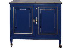One Kings Lane - Vintage & Designer Picks - Blue Lacquer Bar Cabinet