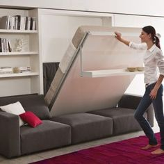 10 modern Murphy beds, or wall beds, that will you maximize space in your small home. Finding a Murphy bed perfect for your modern or contemporary home can prove difficult. Diy Murphy Bed, Cama Murphy, Best Murphy Bed, Modern Murphy Beds, Murphy Bed Plans, Beds For Small Spaces, Small Space Living, Small Apartments, Murphy-bett Ikea