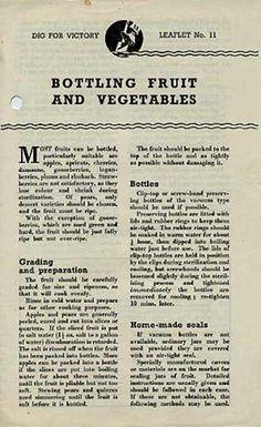 Dig for Victory leaflet - Bottling Fruit and Veg