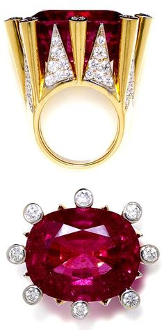 A pink tourmaline and diamond ring signed by Tony Duquette. Pink tourmaline weighting approximately carats, estimated total diamond weight carats, mounted in gold. Via Bonhams. Jewelry Box, Jewelry Rings, Vintage Jewelry, Jewelry Accessories, Fine Jewelry, Jewlery, Fashion Accessories, Bijoux Design, Schmuck Design