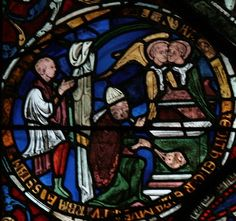 """Canterbury Cathedral - The Entry of the Priests into the Holy of Holies (3 Ki 1:8) as a type of the Ascension in the Corona Redemption Window (c.1200-07). The Ark of the Covenant is opened and """"the glory of the Lord had filled the house of the Lord."""""""
