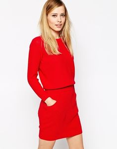 ASOS Jumper Dress With Elastic Waistband- just a cosy comfortable dress to wear with thick tights, heeled ankle cleated sole biker boots and a black or navy peacoat come winter