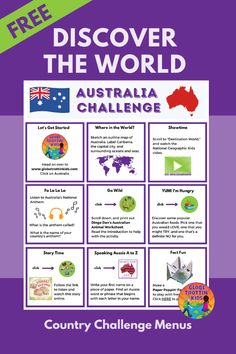 Young explorers discover the world through our website country profile pages and engaging country challenge menus (online and printable). Students learn about the geography and culture of Australia through a video, read-aloud, and a variety of fun activities. #Australia #AustralianFood #AustralianAnimals #AustraliaBooks #SpeakingAussie #WombatWalkabout #GeographyForKids #GeographyActivities #GlobalLearning #SocialStudies #DistanceLearning #RemoteLearning #AtHomeLearning #ActivitiesforKids Geography Activities, Geography For Kids, Teaching Geography, World Geography, Activities For Kids, Teaching Social Studies, Student Learning, Teaching Kids, History Education