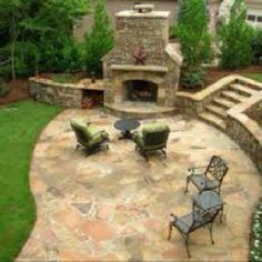 Patio & outdoor fireplace