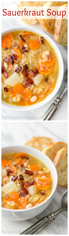 This sauerkraut soup is a most unusual and delicious soup. The sauerkraut gives it a lovely texture and zing. It's hearty, filling and will warm your belly | natashaskitchen.com