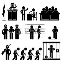 Illustration of Court Judge Law Jail Prison Lawyer Jury Criminal Icon Symbol Sign Pictogram vector art, clipart and stock vectors. Illustrations Médicales, Criminal Profiling, Sharpie Drawings, People Icon, Court Judge, Clip Art, Shadow Puppets, Business Icon, Stick Figures