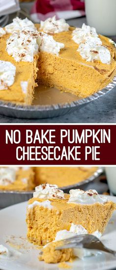 Easy No Bake Pumpkin Cheesecake Super easy No Bake Pumpkin Cheesecake Dessert recipe: This Pumpkin Cheesecake Pie is light, fluffy, full of pumpkin flavor and oh-so-good! It's a perfect no-bake fall dessert. No Bake Pumpkin Cheesecake, No Bake Pumpkin Pie, Easy Cheesecake Recipes, Cheesecake Desserts, Baked Pumpkin, Pumpkin Dessert, Dessert Recipes, Pumpkin Fluff Pie Recipe, Vegan Pumpkin
