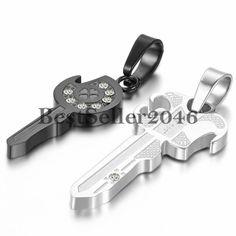 2 Freundschaftsketten Schlüssel Edelstahl Strass Partner-Anhänger Halskette