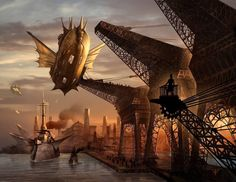 Steampunk in Art Steampunk Kunst, Steampunk Airship, Dieselpunk, Steampunk Artwork, Steampunk Wallpaper, Steampunk Images, Fantasy Landscape, Fantasy Art, Electronic Arts