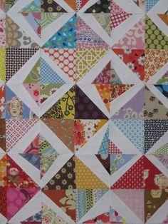 sewkatiedid - stitch & flip triangles added to half-square triangles