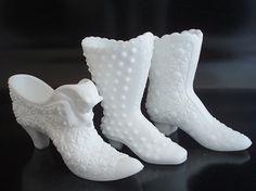 fenton glass shoes collectibles | Fenton Milk Glass Cat Slipper & Boot & Hobnail Boot
