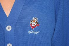Tony the Tiger Kelloggs Frosted Flakes Blue Cardigan Sweater Vintage by nodemo
