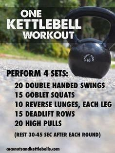 One Kettlebell Workout (great workout that can be done anywhere!) - Coconuts… One Kettlebell Workout (great workout that can be done anywhere! Kettlebell Training, Crossfit Kettlebell, Kettlebell Benefits, Kettlebell Challenge, Kettlebell Deadlift, Training Exercises, Kettlebell Routines, Circuit Training, Training Plan