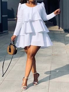 Above Knee Falbala Long Sleeve Round Neck Pullover Women's Dress Chic Dress, Classy Dress, Classy Outfits, Chic Outfits, Fashion Outfits, Latest African Fashion Dresses, African Dresses For Women, African Attire, Looks Plus Size