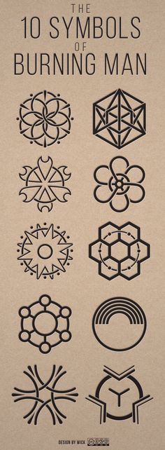 The 10 principles of Burning Man illustrated in symbols - by Wick.