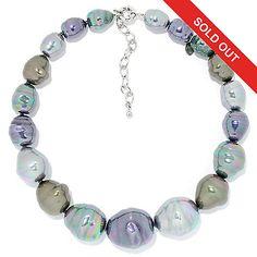 "156-772 - JOIA De Majorca 17.5"" Organic Man-Made Pearl Graduated Necklace w/ 3""…"