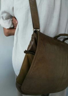 Bagera leather and canvas postman bag