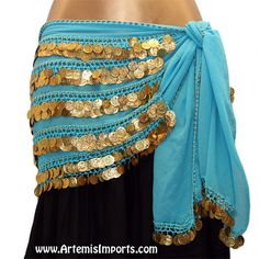 Belly Dance Coin Hip Scarf - Five-Row Egyptian Coin Hip Scarf - Artemis Imports