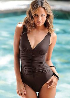 LASCANA Brown Deep V-Neck Swimsuit