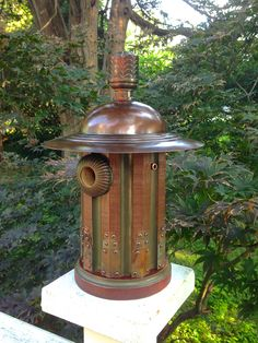 The Deco Column: Art Deco Birdhouse Handmade with ReclaimedWood and Metal