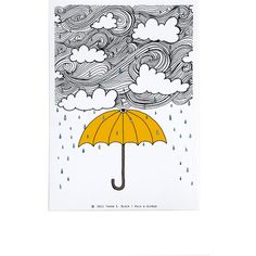 The Yellow Umbrella - Illustration by: Taren S. Black ($15) ❤ liked on Polyvore