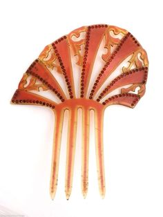 3 Antique 1920s Celluloid Hair Combs Mantilla Amber with Red Rhinestones Black | eBay