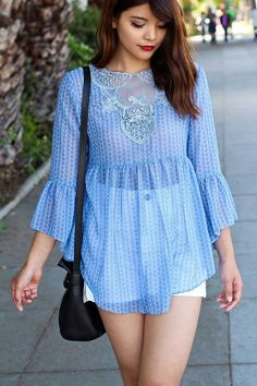 Darling Blue Flared Sleeved Lace Tunic