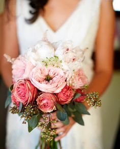 my bridal bouquet - Pink and white garden rose bouquet