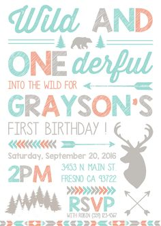 Wild and One Birthday Party Invitation Invite Woodland Deer Forest Camping Bear Woods First Birthday