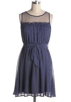 Navy silk-blended dress with tiny white polka dots> Mesh fabric at chest. Self-tie waist sash. Belt loops. 60% silk, 40% polyester Not stretchy Lined Indie, Retro, Party, Vintage, Plus Size, Convertible, Cocktail Dresses in Canada Poolside Party Dress -