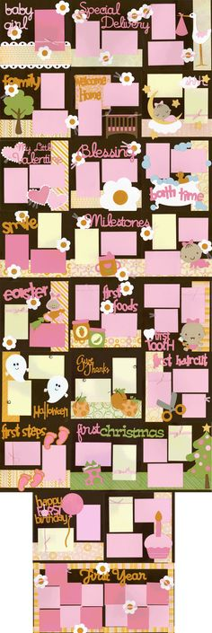 Lots of baby girl page ideas!                                                                                                                                                      More #babyscrapbooks