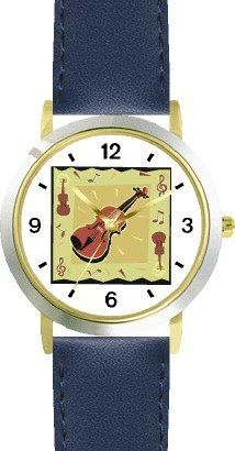 Violin with Music Motifs - Musical Instrument - Music Theme - WATCHBUDDY® DELUXE TWO-TONE THEME WATCH - Arabic Numbers - Blue Leather Strap-Size-Children's Size-Small ( Boy's Size & Girl's Size ) WatchBuddy. $49.95