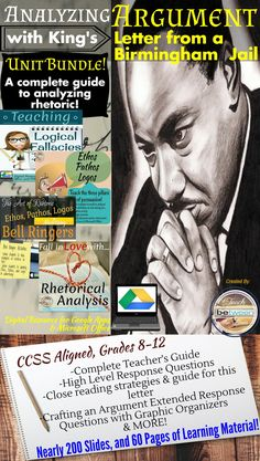 Secondary ELA! Unit Bundle!  Teach students how to analyze an author's arguments with Martin Luther King Jr.'s Letter from a Birmingham Jail!