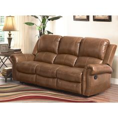 Abbyson Skyler Cognac Leather Reclining Sofa - Free Shipping Today - Overstock.com - 19205229 - Mobile