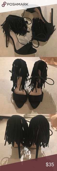 Zara black lace up fringe heels Worn twice. Only signs of wear are on sole. Perfect condition! great quality! Faux suede Zara Shoes Heels