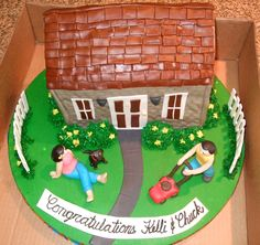 House - Strawberry cake, buttercream Icing, fondant/gumpase people, dog and lawn mower. House made out of fondant.